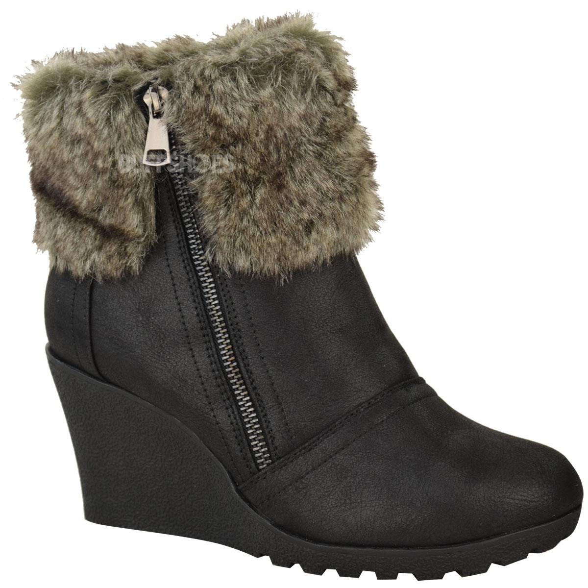 womens winter fur wedge platform ankle boots zip