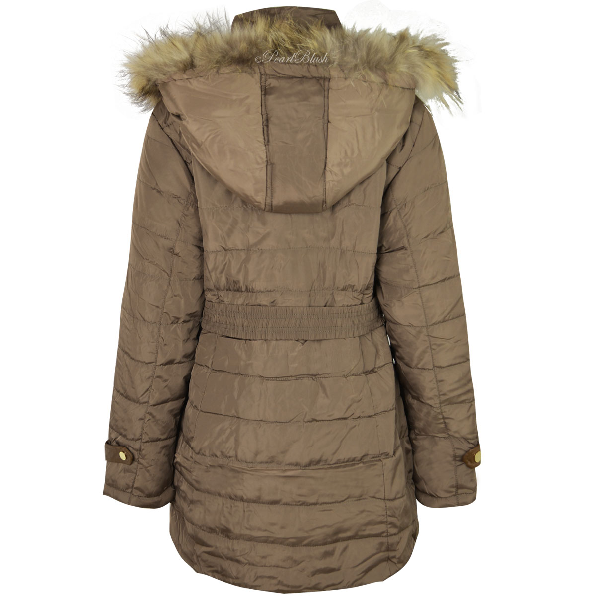LADIES WOMENS PLUS SIZE FUR HOODED WINTER COAT QUILTED
