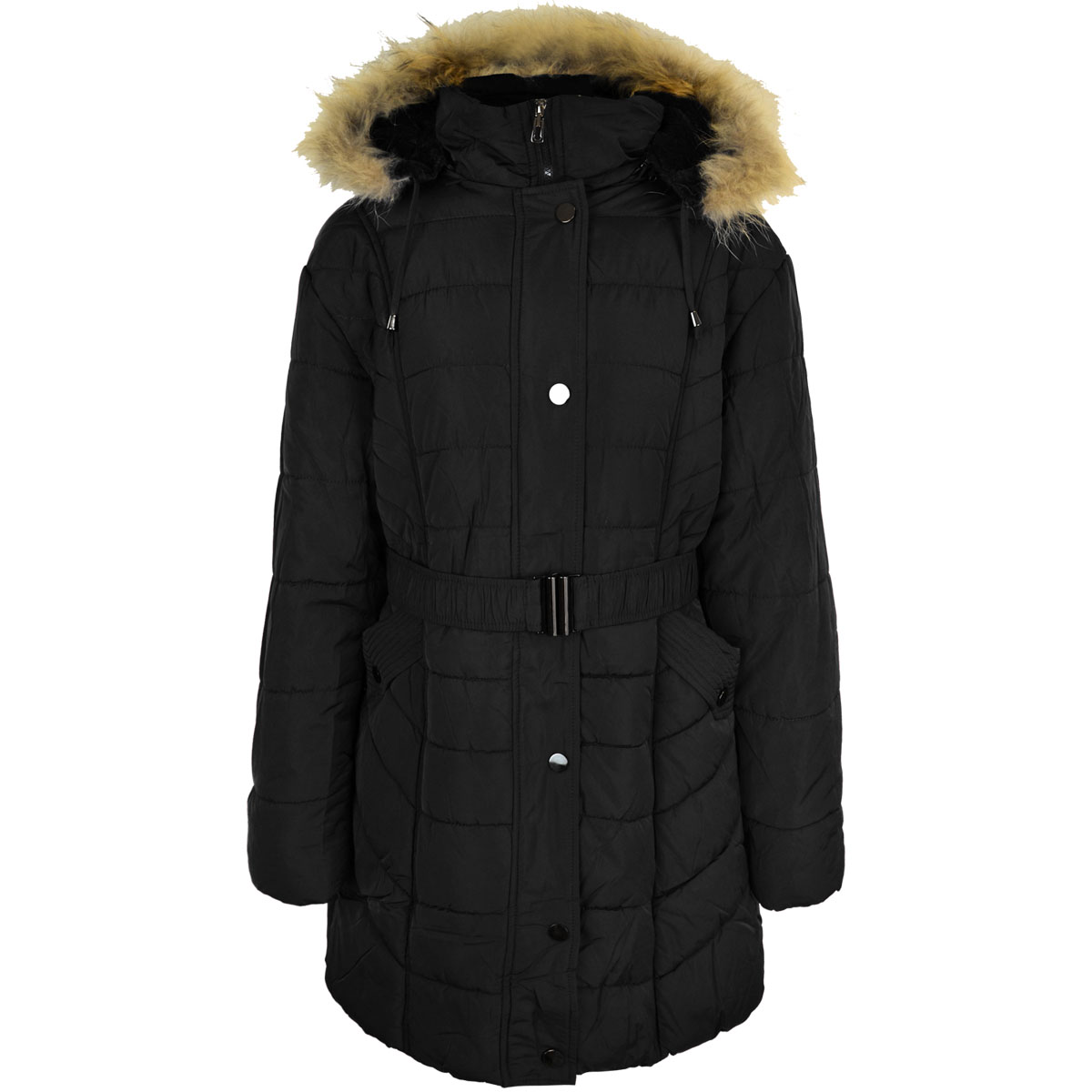 thumbnail 3 - Womens-Ladies-Plus-Over-Size-Winter-Long-Jacket-Puffer-Coat-Detachable-Hood