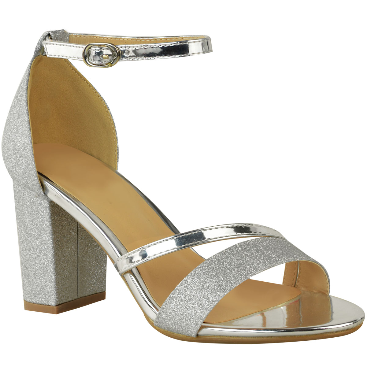 534550760cab Womens Sparkle Diamante Low Mid Heel Sandals Wedding Bridal Prom ...