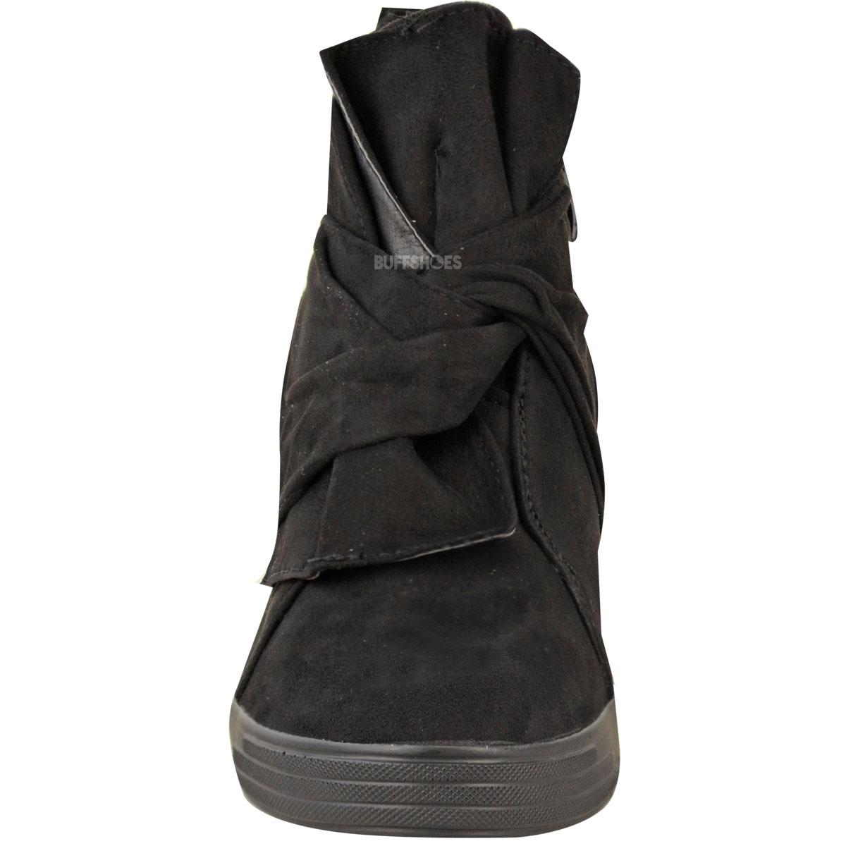 große Schleife Damen High Top-Sneaker mit Keilabsatz innen