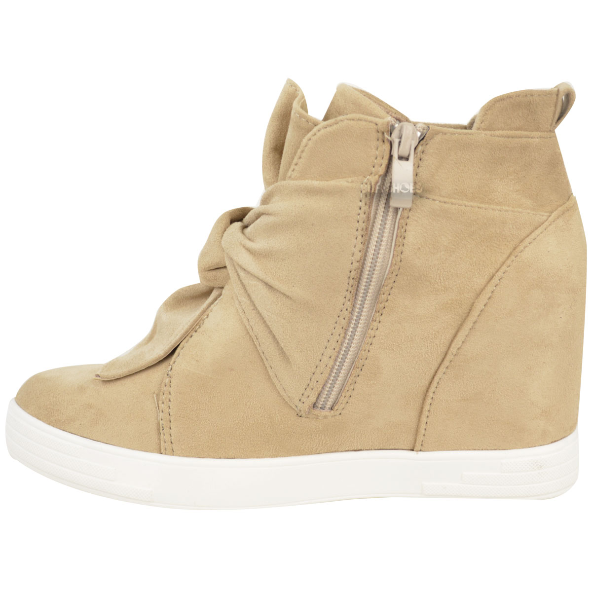 womens mid high heel wedges trainers hi tops bow