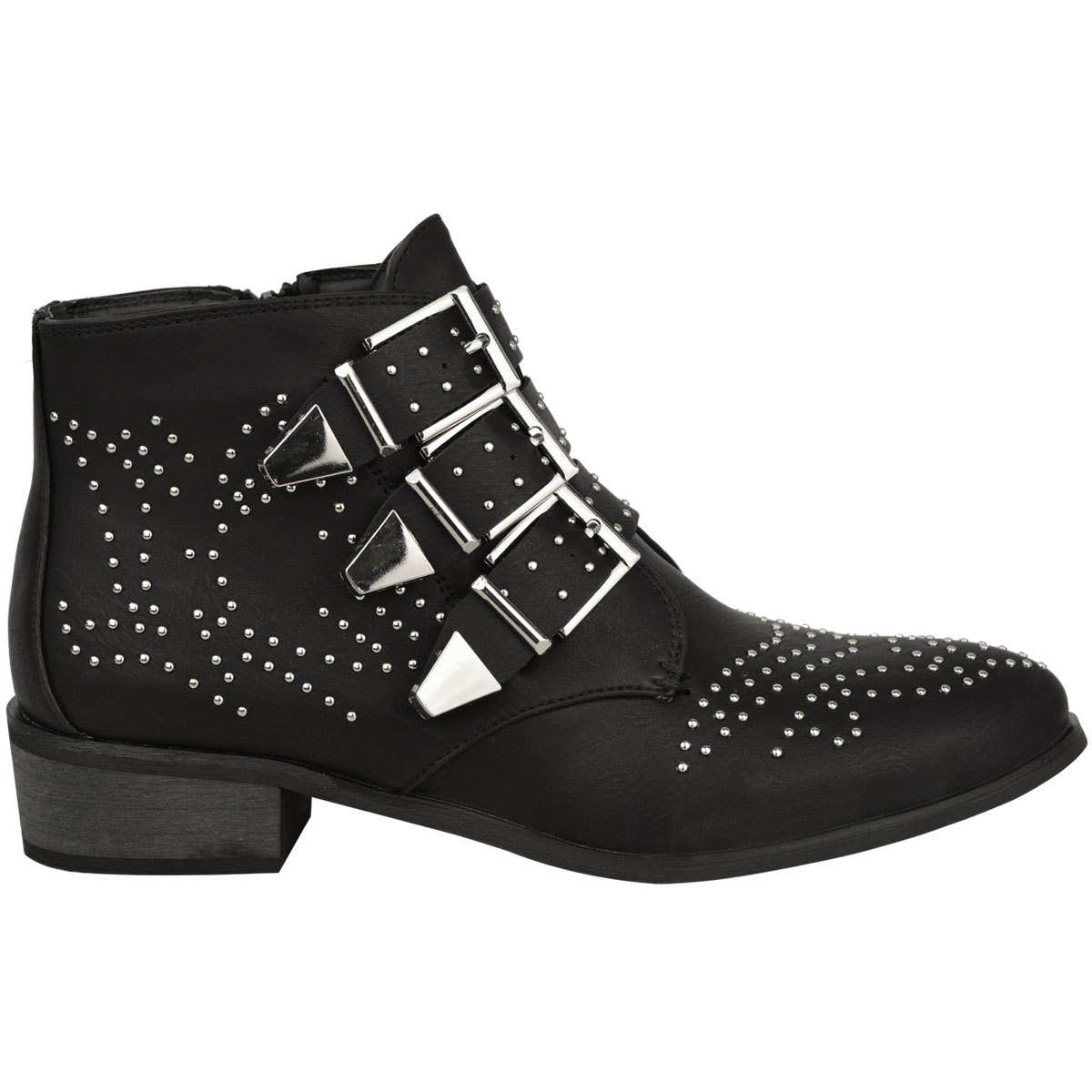 6d2ef995e51 Womens Ladies Studded Flat Low Heel Cowboy Ankle Boots Buckle ...