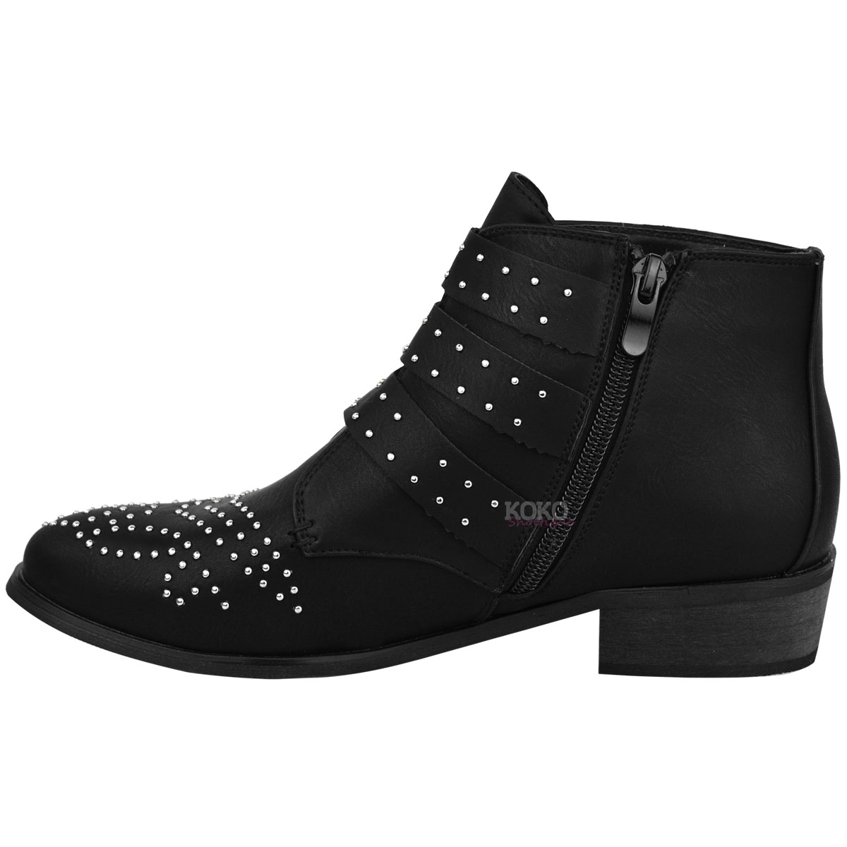 New Womens Ladies Vintage Studded Ankle Boots Biker Low Heel ...