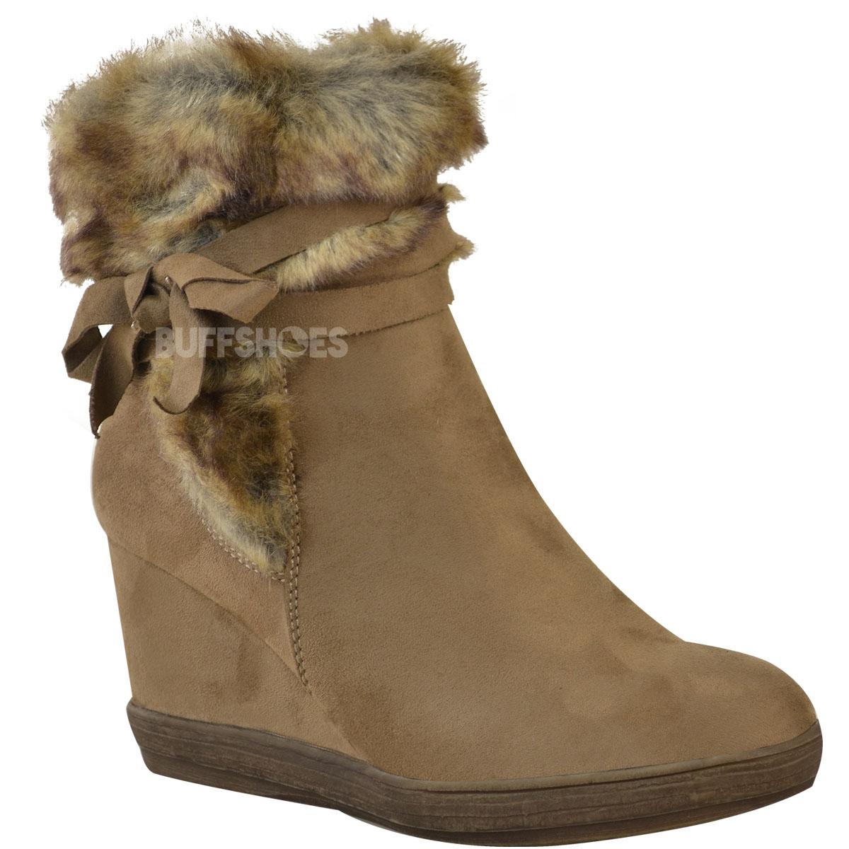 Womens Ladies Winter Faux Fur Wedge Platform Ankle Boots ...
