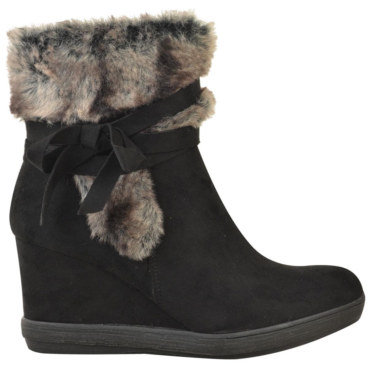 Womens-Ladies-Wedge-Low-Heel-Winter-Knee-Boots-Warm-Faux-Fur-Fleece-Size-UK thumbnail 21