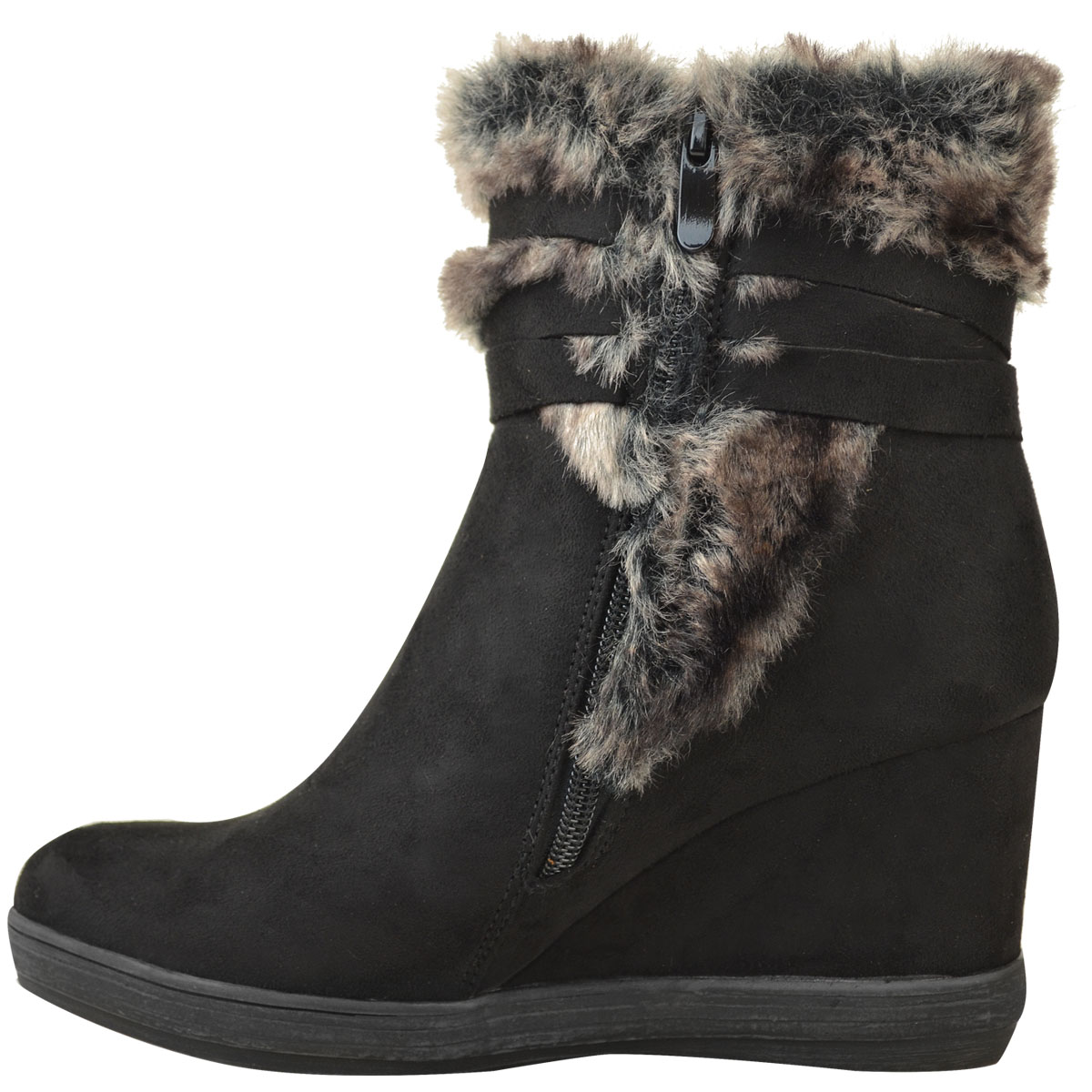 Womens-Ladies-Wedge-Low-Heel-Winter-Knee-Boots-Warm-Faux-Fur-Fleece-Size-UK thumbnail 22