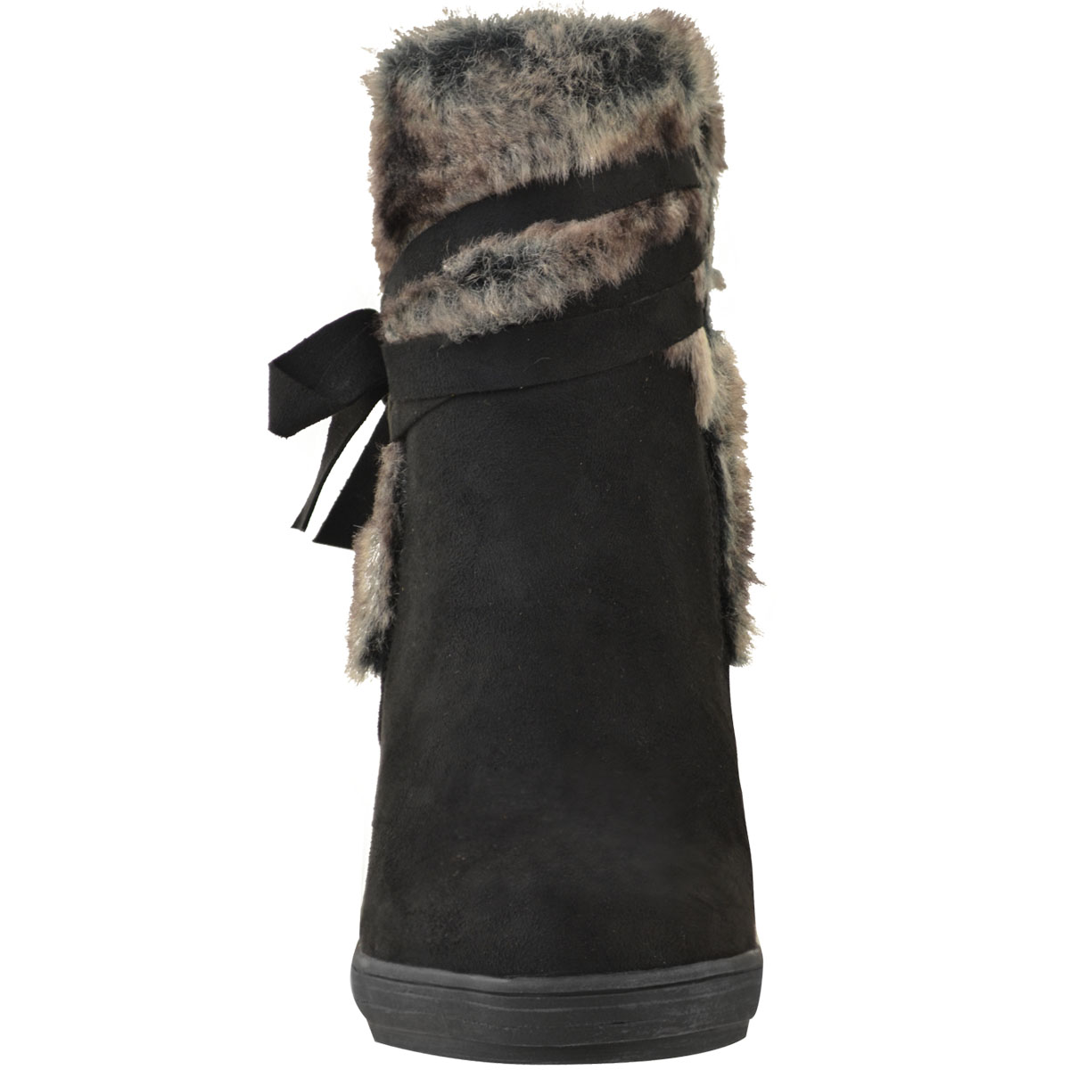 Womens-Ladies-Wedge-Low-Heel-Winter-Knee-Boots-Warm-Faux-Fur-Fleece-Size-UK thumbnail 23