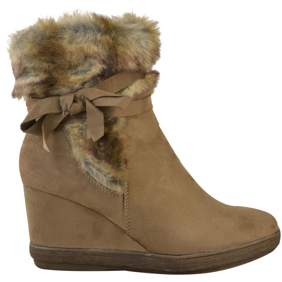 Womens-Ladies-Wedge-Low-Heel-Winter-Knee-Boots-Warm-Faux-Fur-Fleece-Size-UK thumbnail 25