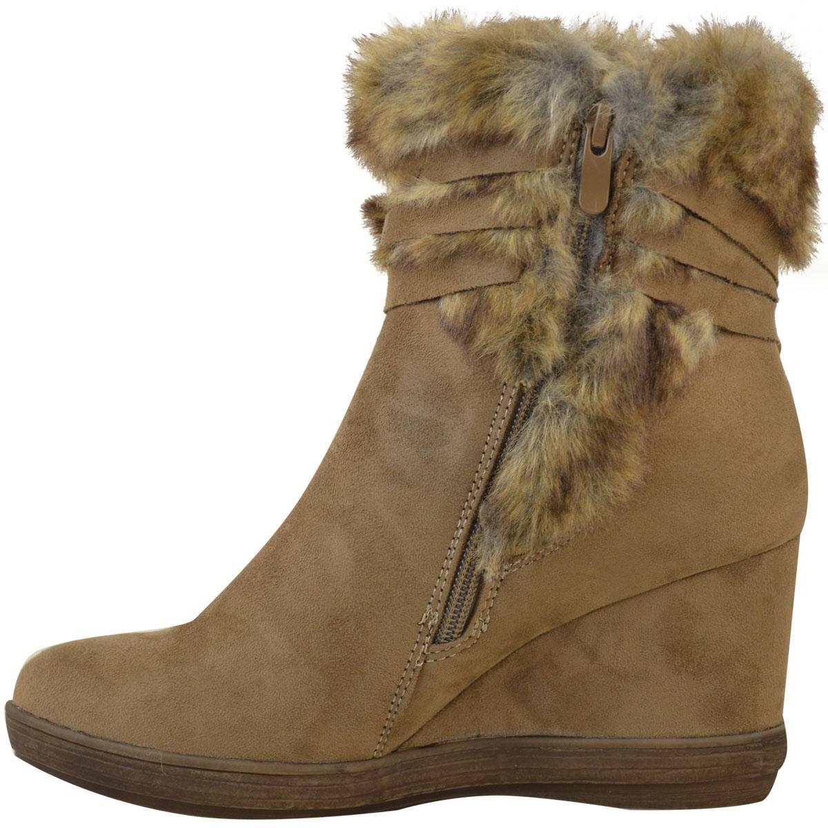 Womens-Ladies-Wedge-Low-Heel-Winter-Knee-Boots-Warm-Faux-Fur-Fleece-Size-UK thumbnail 26