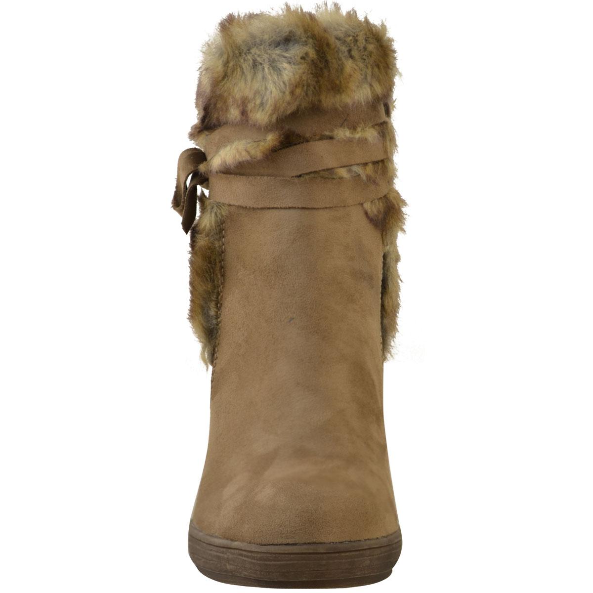 Womens-Ladies-Wedge-Low-Heel-Winter-Knee-Boots-Warm-Faux-Fur-Fleece-Size-UK thumbnail 27