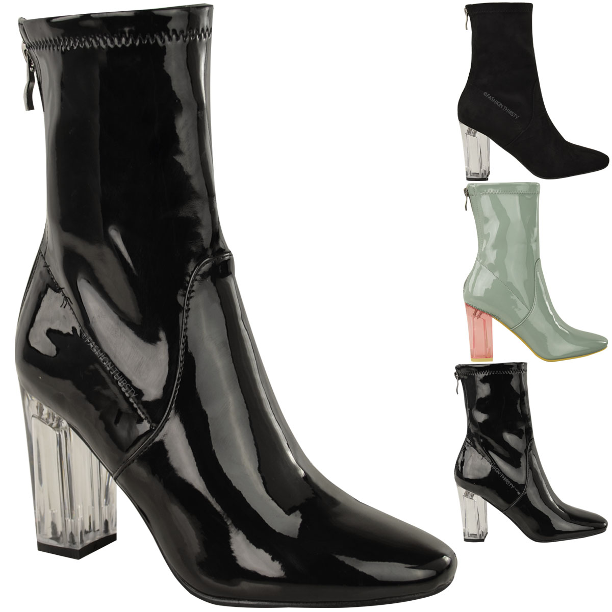 New Ladies Womens Ankle Boots Clear Perspex Block High