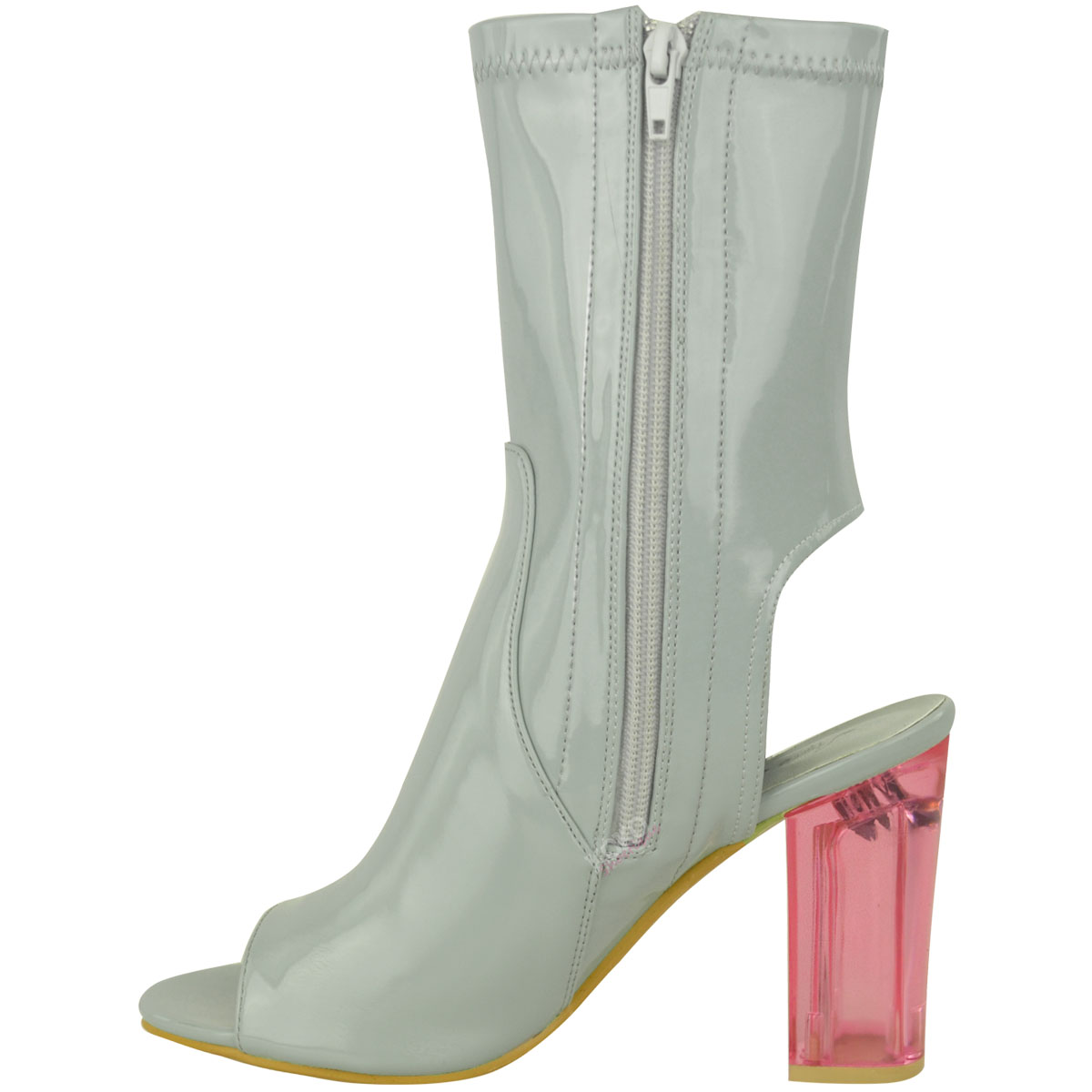 womens clear perspex ankle boots block high heels