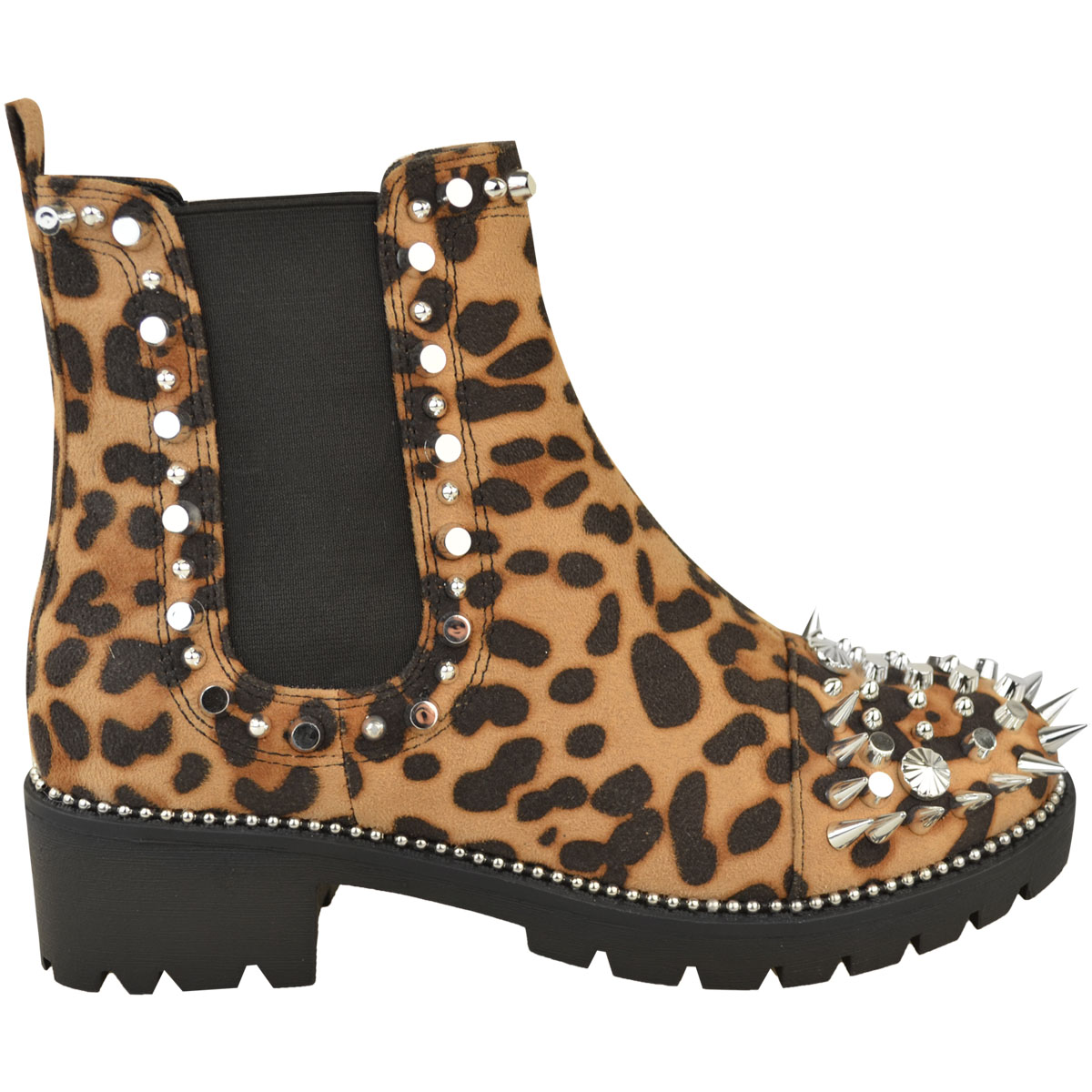 Womens Black Leopard Studded Stud Ankle Boots Chelsea Pull On Chunky Punk Goth