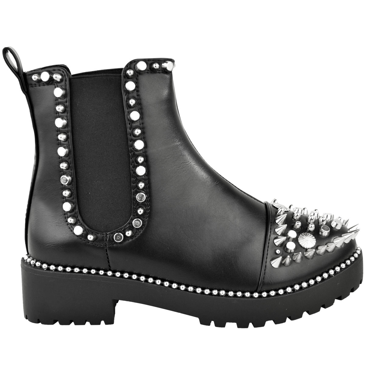 Womens-Ladies-Black-Flat-Winter-Ankle-Boots-Studded-Grunge-Pull-On-Chunky-Size thumbnail 3