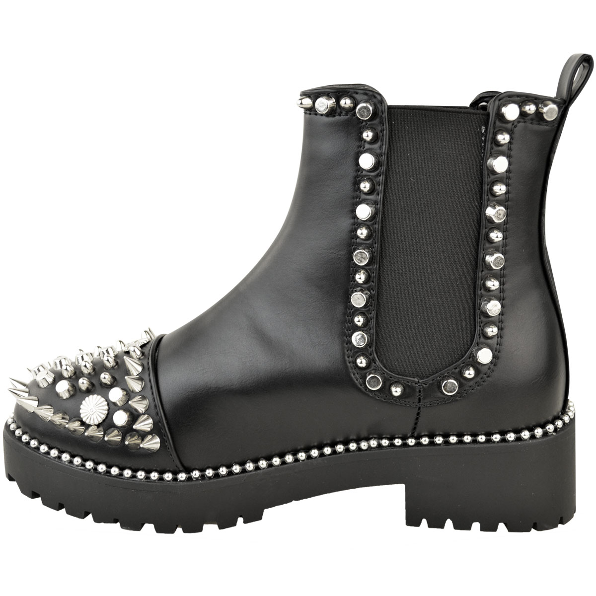 Womens-Ladies-Black-Flat-Winter-Ankle-Boots-Studded-Grunge-Pull-On-Chunky-Size thumbnail 4