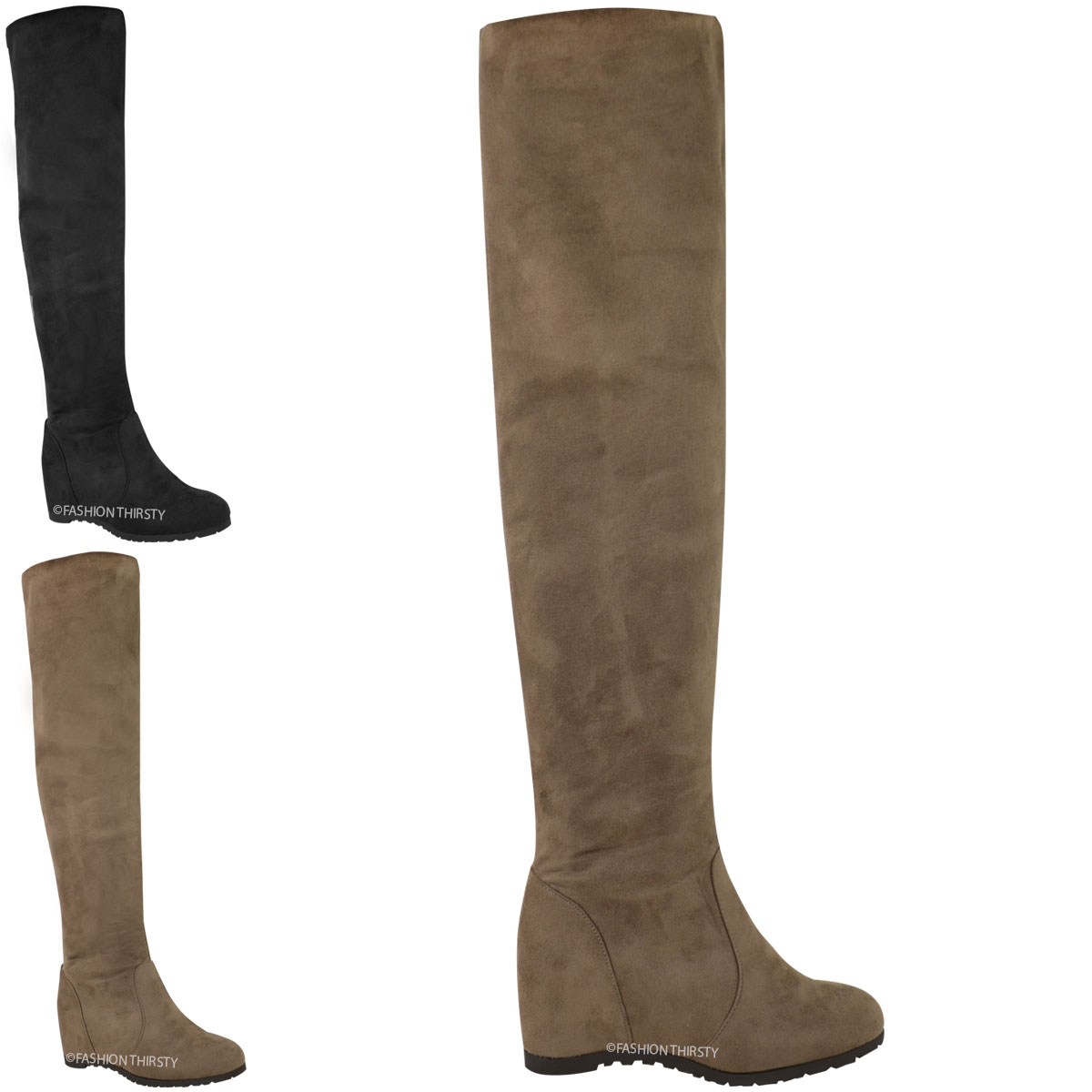 womens lades wedge thigh the knee high boots mid heel
