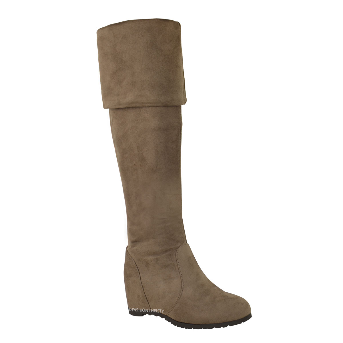 WOMENS LADES WEDGE THIGH OVER THE KNEE HIGH BOOTS MID HEEL PULL ON ...