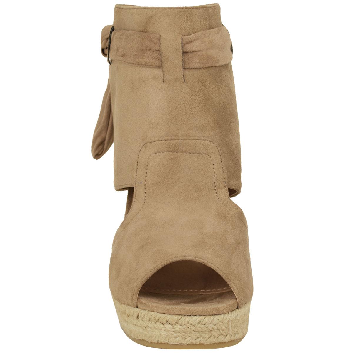 Womens Ladies Summer Sandals High Heels Peep Toe Wedges Tie Up Party Shoes Size   EBay