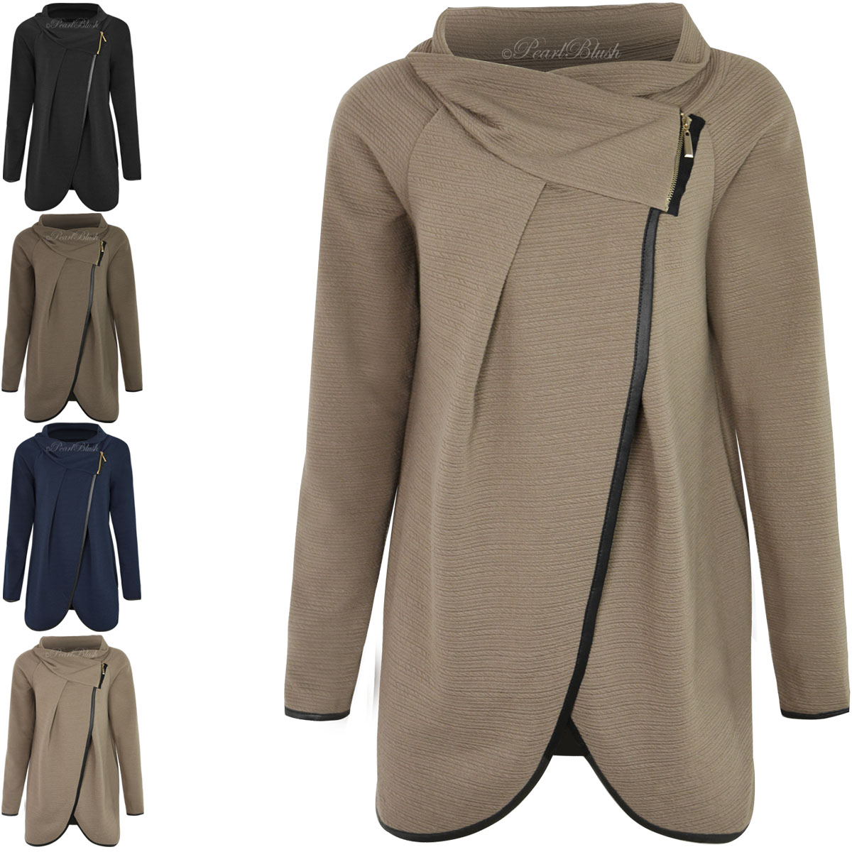 WOMENS LADIES LONG SLEEVE JUMPER COWL NECK TOP CARDIGAN SPLIT WRAP ...