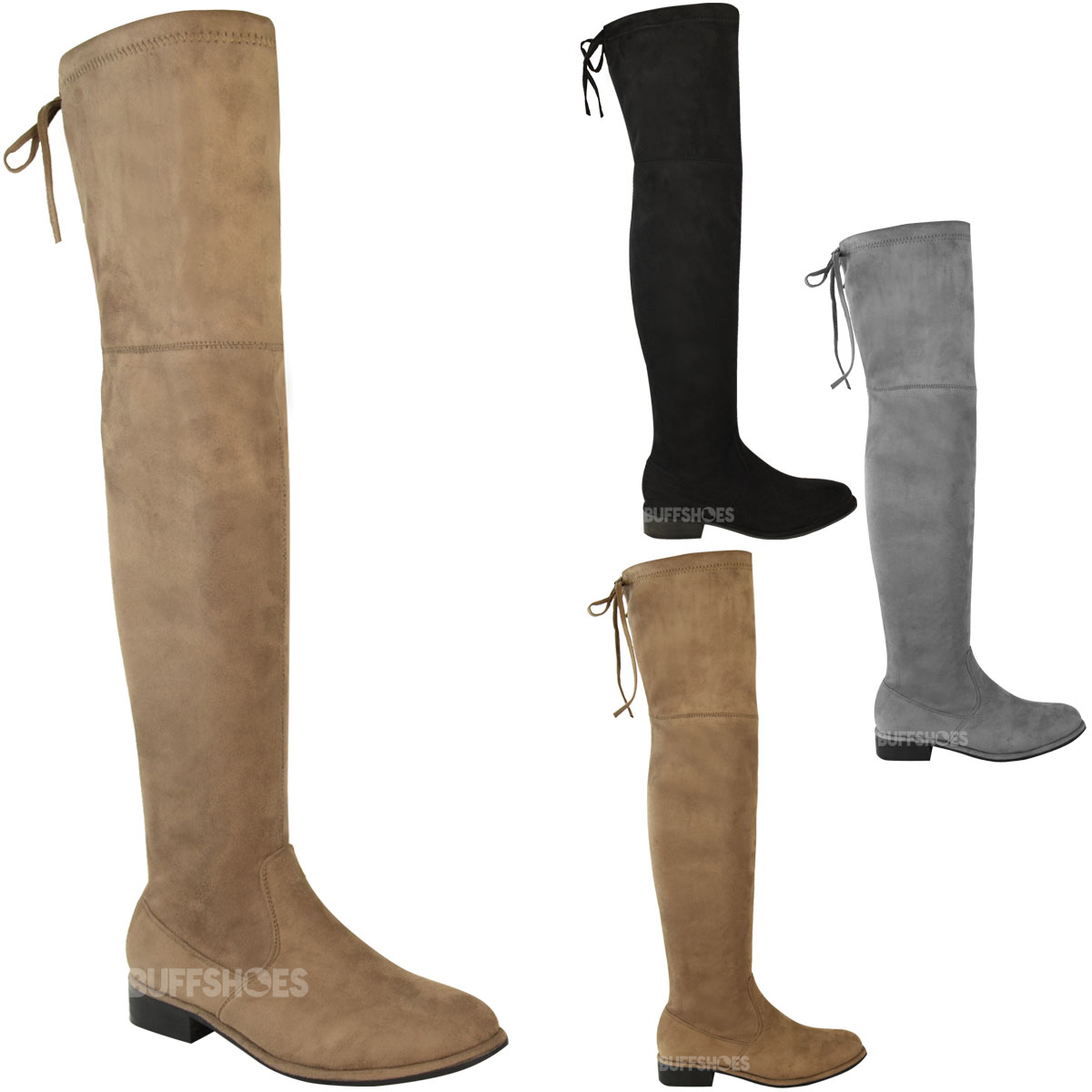 womens ladies low flat heel over the knee thigh high