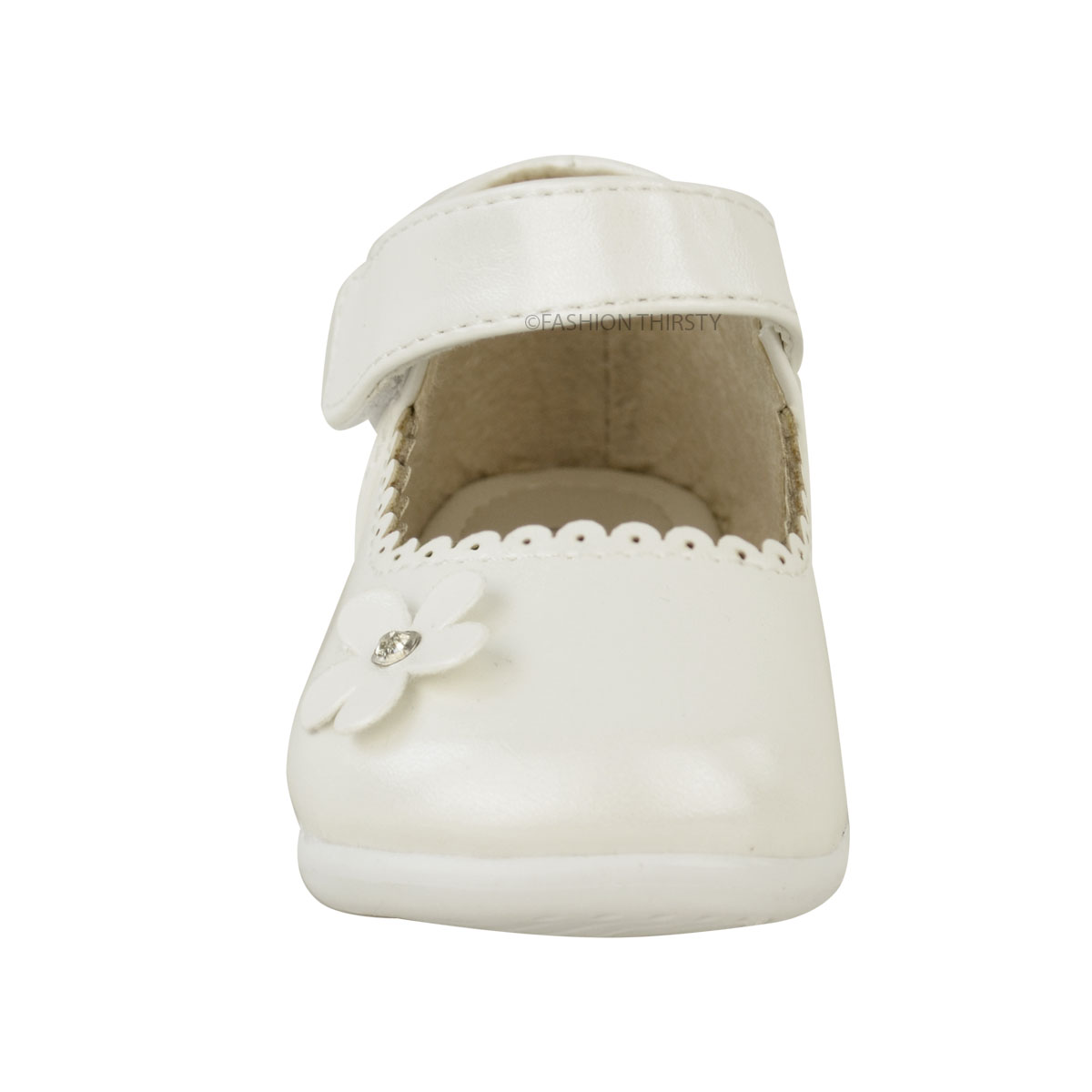 Girls Babies Childrens Christening Wedding Flower Velcro Strap Party Shoes Size