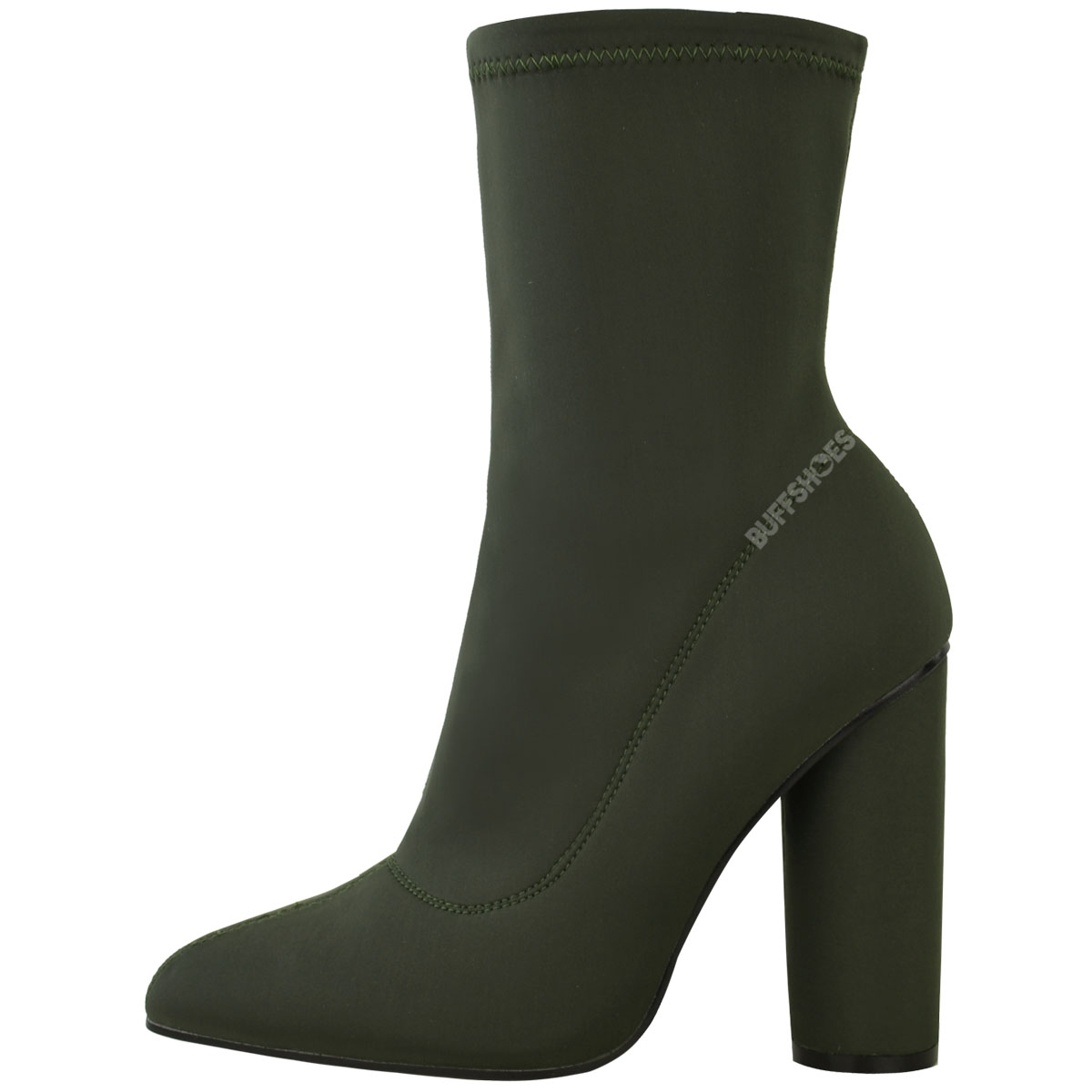 womens block high heels stretchy lycra ankle boots