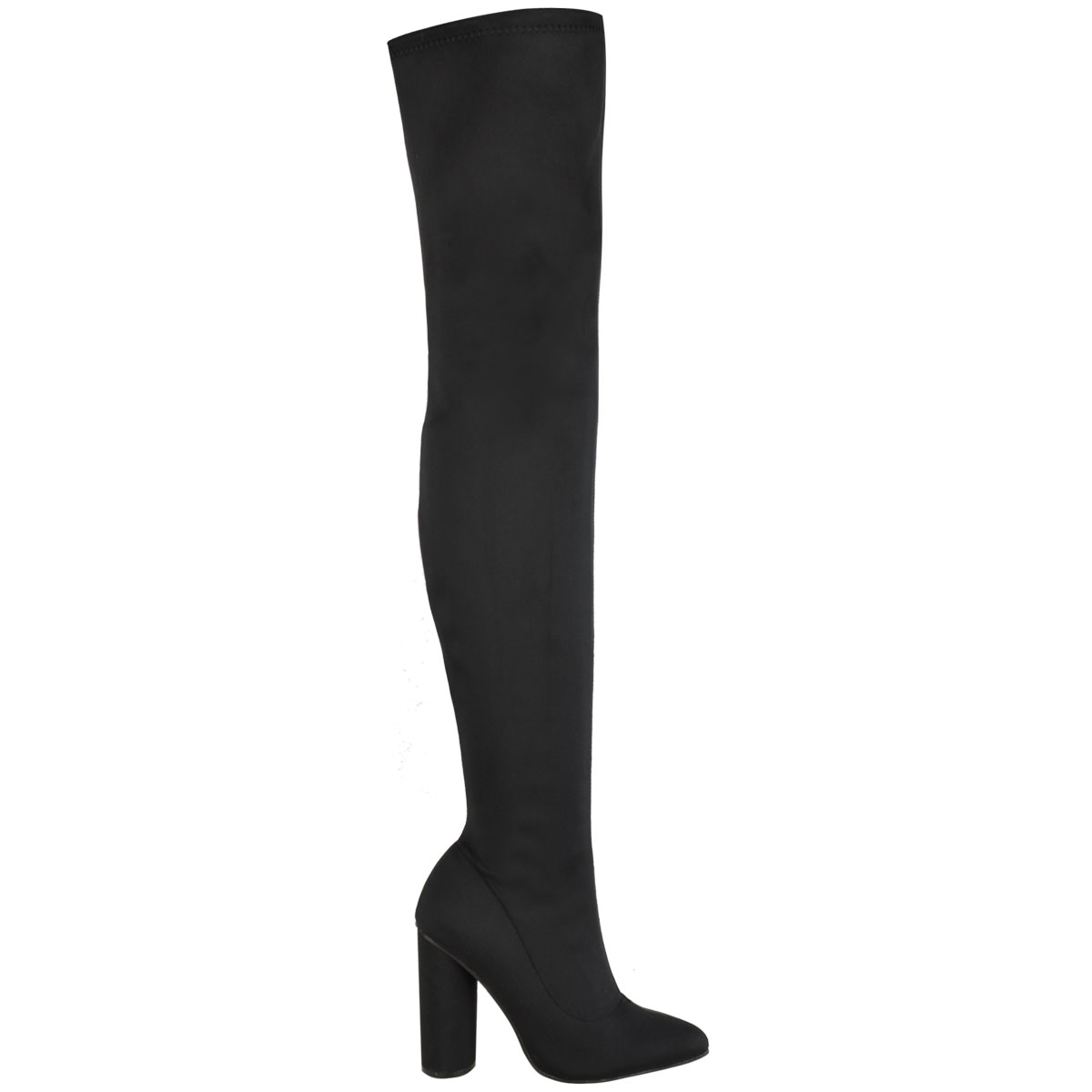 Womens-Over-The-Knee-Thigh-Boots-High-Block-Heel-Stretch-Zip-Up-Pointed-Toe-Size