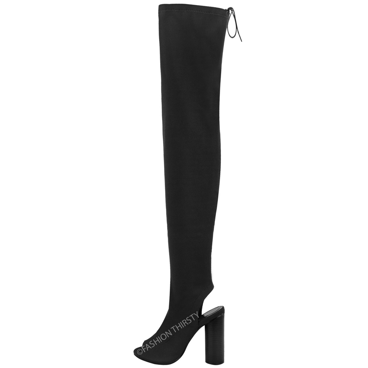bottes cuissardes pour femme talons larges tissu en tricot lastiqu ebay. Black Bedroom Furniture Sets. Home Design Ideas