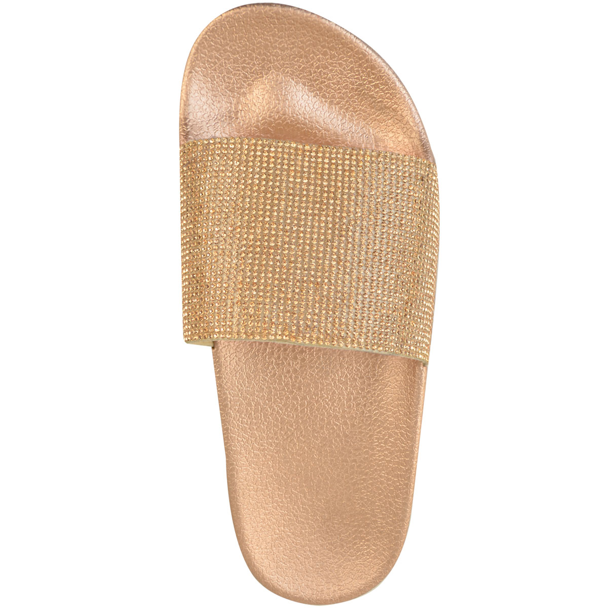 Womens-Ladies-Flat-Slides-Sandals-Diamante-Sparkly-Sliders-Slippers-Shoes-Size thumbnail 16