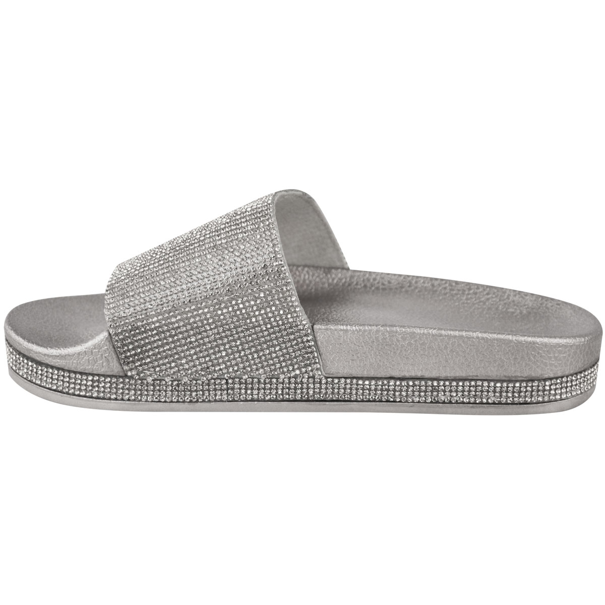 Womens-Ladies-Flat-Slides-Sandals-Diamante-Sparkly-Sliders-Slippers-Shoes-Size thumbnail 9