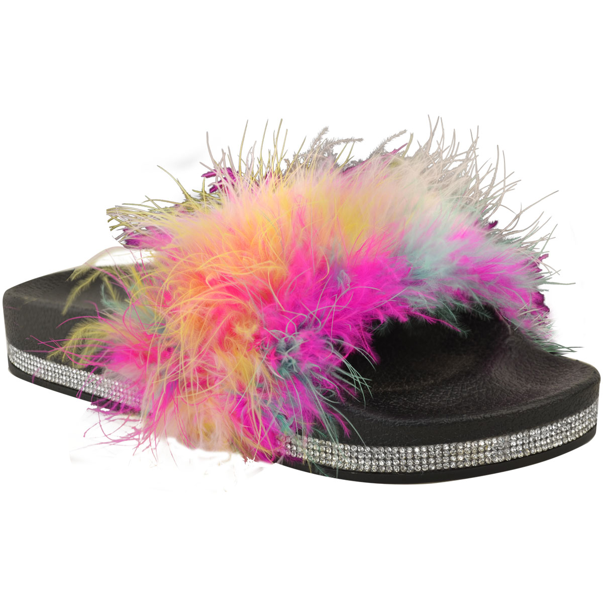WOMENS MULTI COLOUR FEATHER SLIDERS SLIP ON MULES SANDALS SHOES LADIES SIZE 3-8