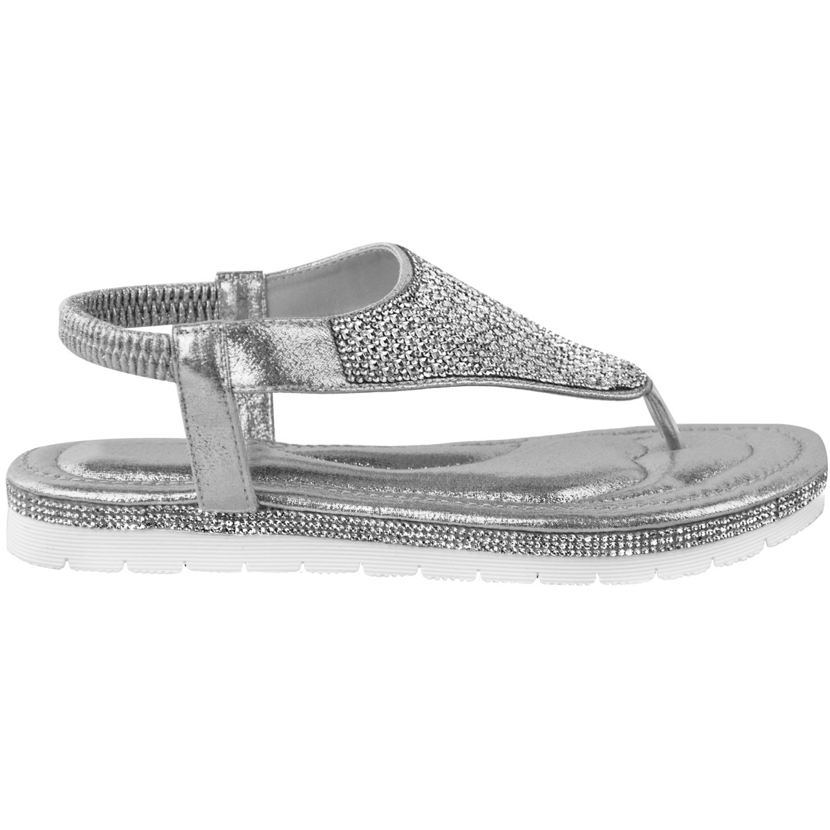 2999c880c947 Womens Ladies Low Flat Wedge Diamante Summer Sandals Embellished Low ...