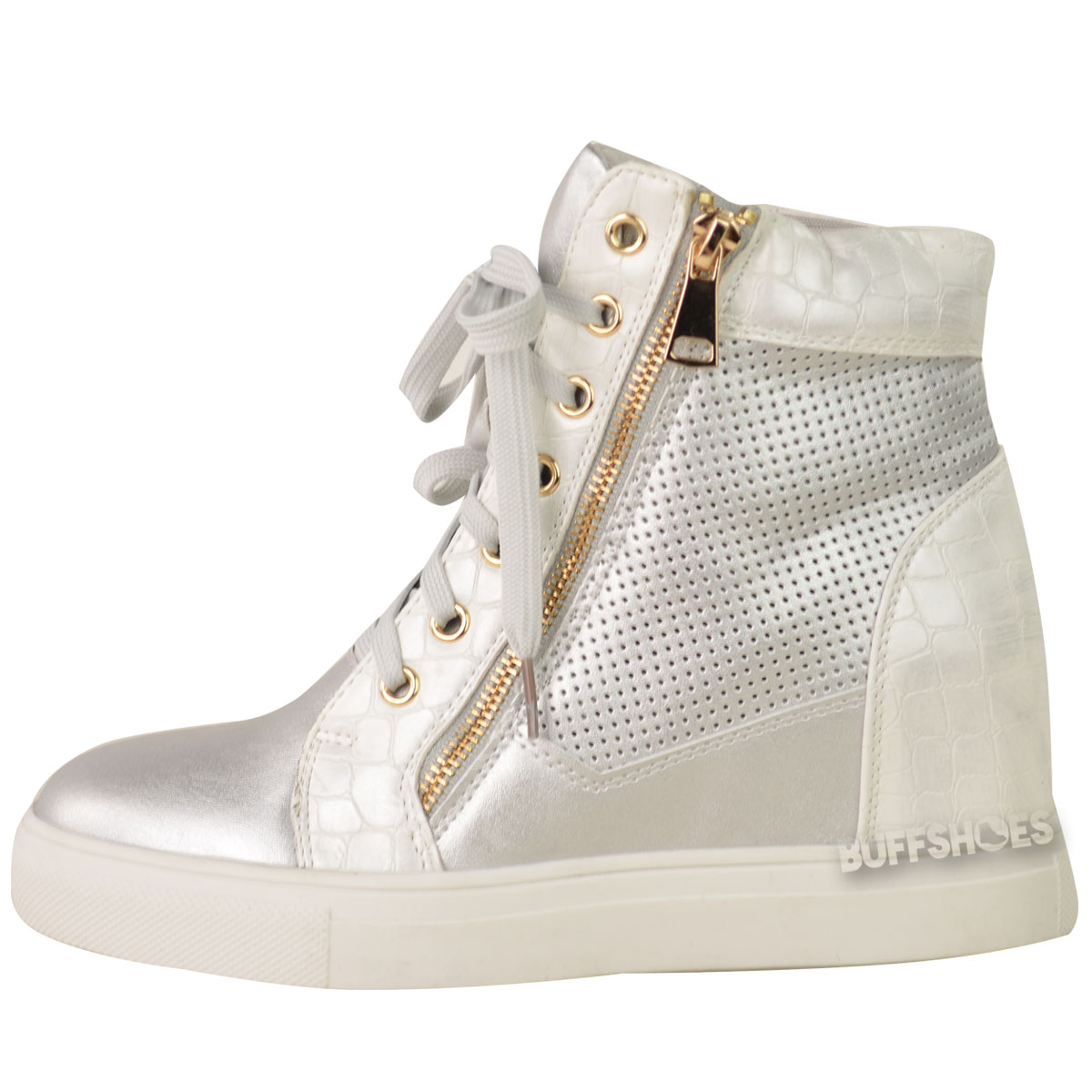 New Womens Ladies Lace Up Sneakers Trainers Hidden Wedge Heel Ankle Boots Size