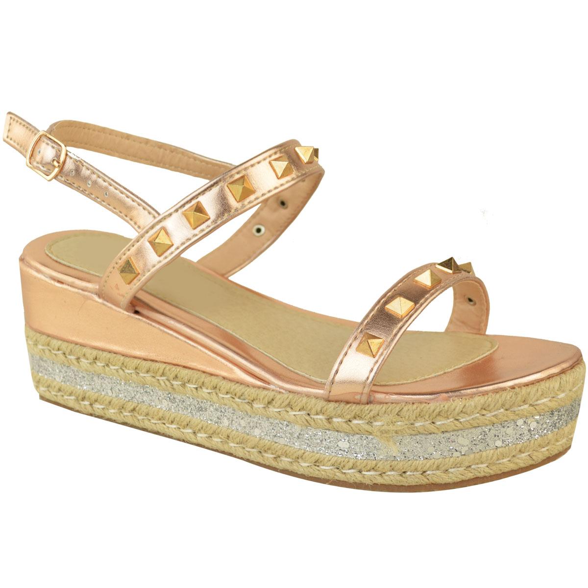 21dc94903fe New Womens Espadrilles Flatform Studded Sandals Low Heel Wedges ...