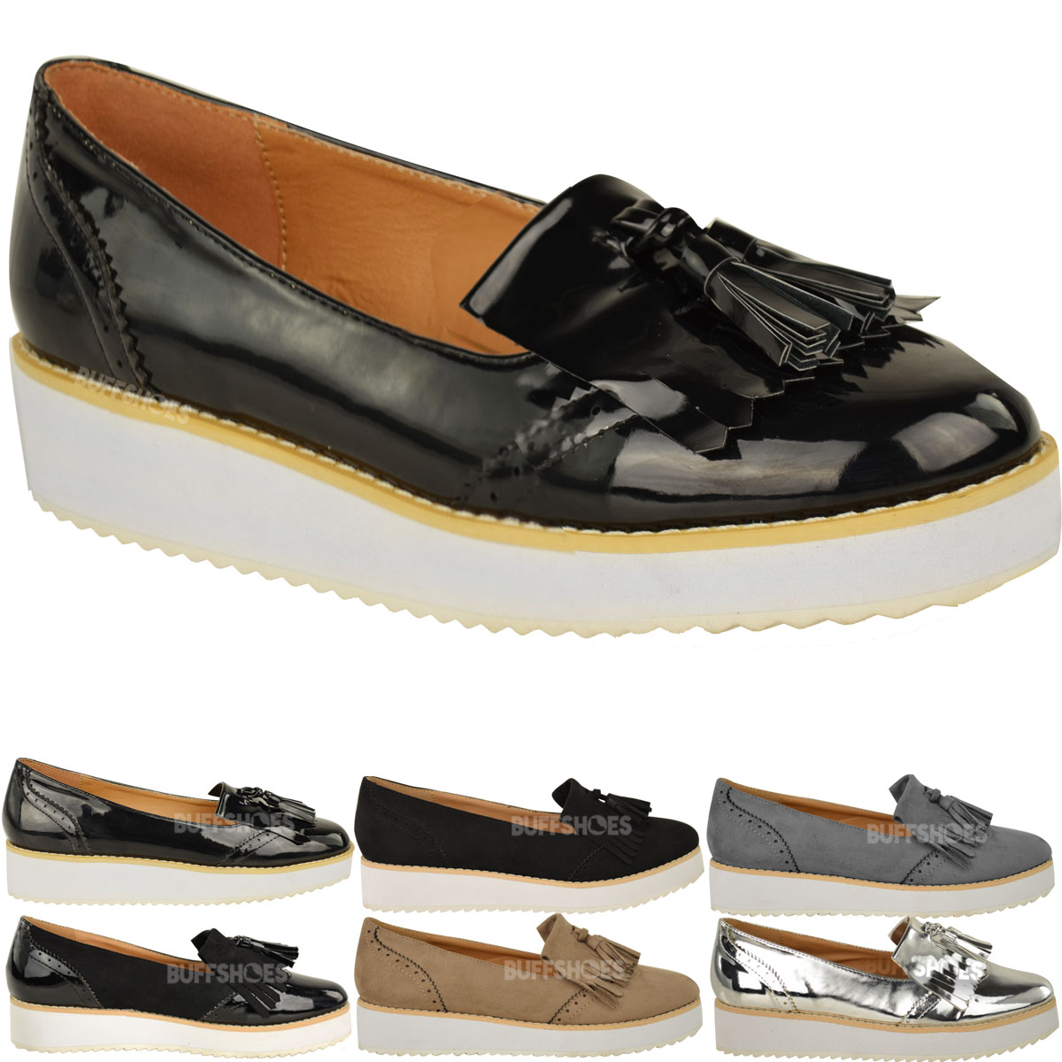 Womens Las Loafers Flat Shoes Chunky Cleated Sole