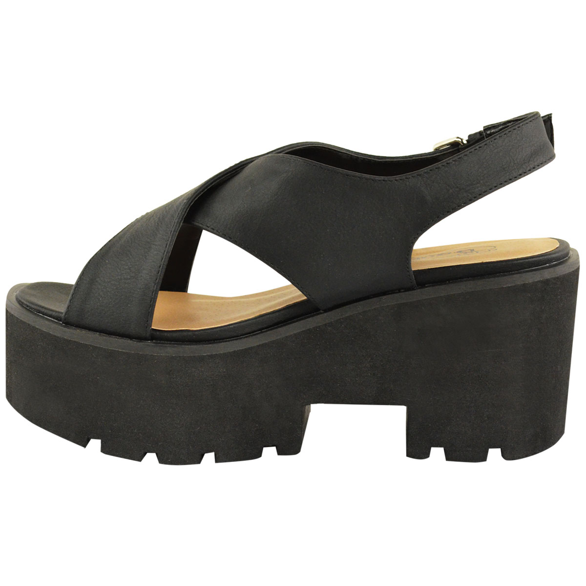 womens chunky platform sole summer wedges slingback