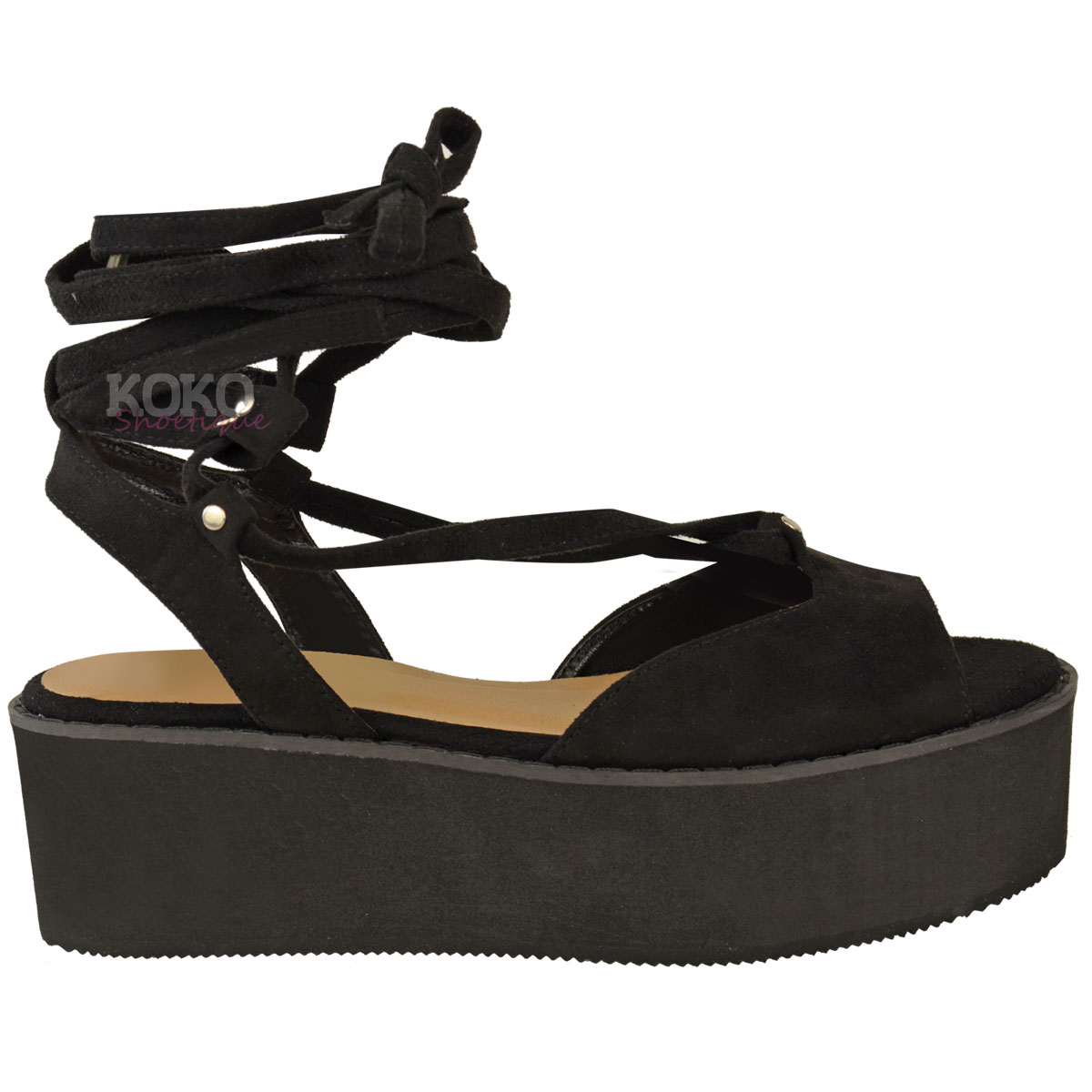 womens flatforms wedge sandals ankle lace up