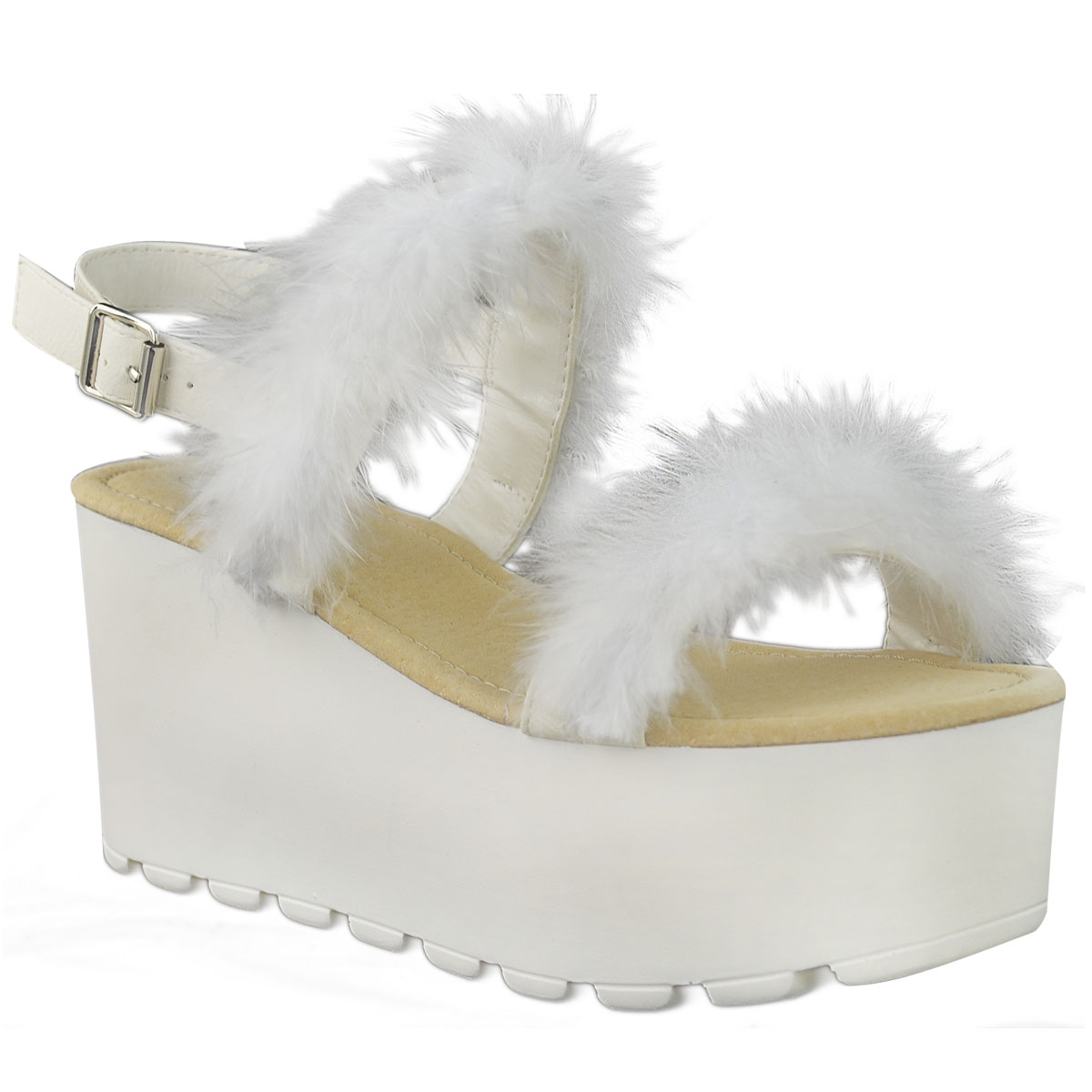 WOMENS LADIES WEDGE SANDALS MARABOU FUR PLATFORMS CHUNKY SHOES FEATHER SIZE