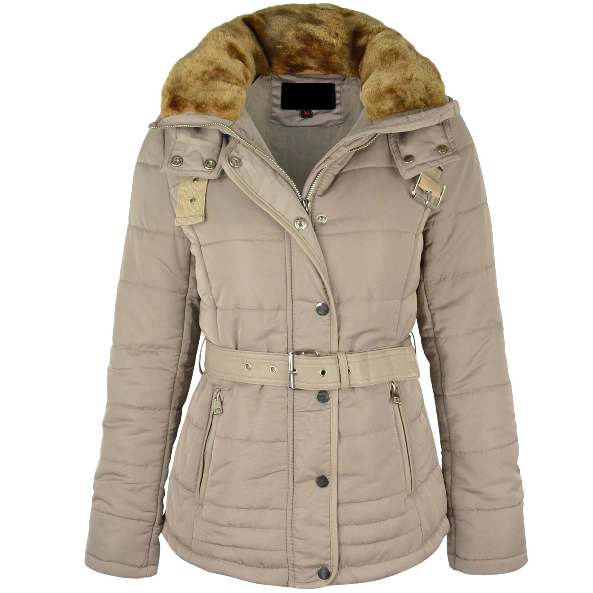 425842ac6d41 NEW WOMENS LADIES WINTER COAT PUFFER FUR COLLAR HOOD JACKET PARKA ...