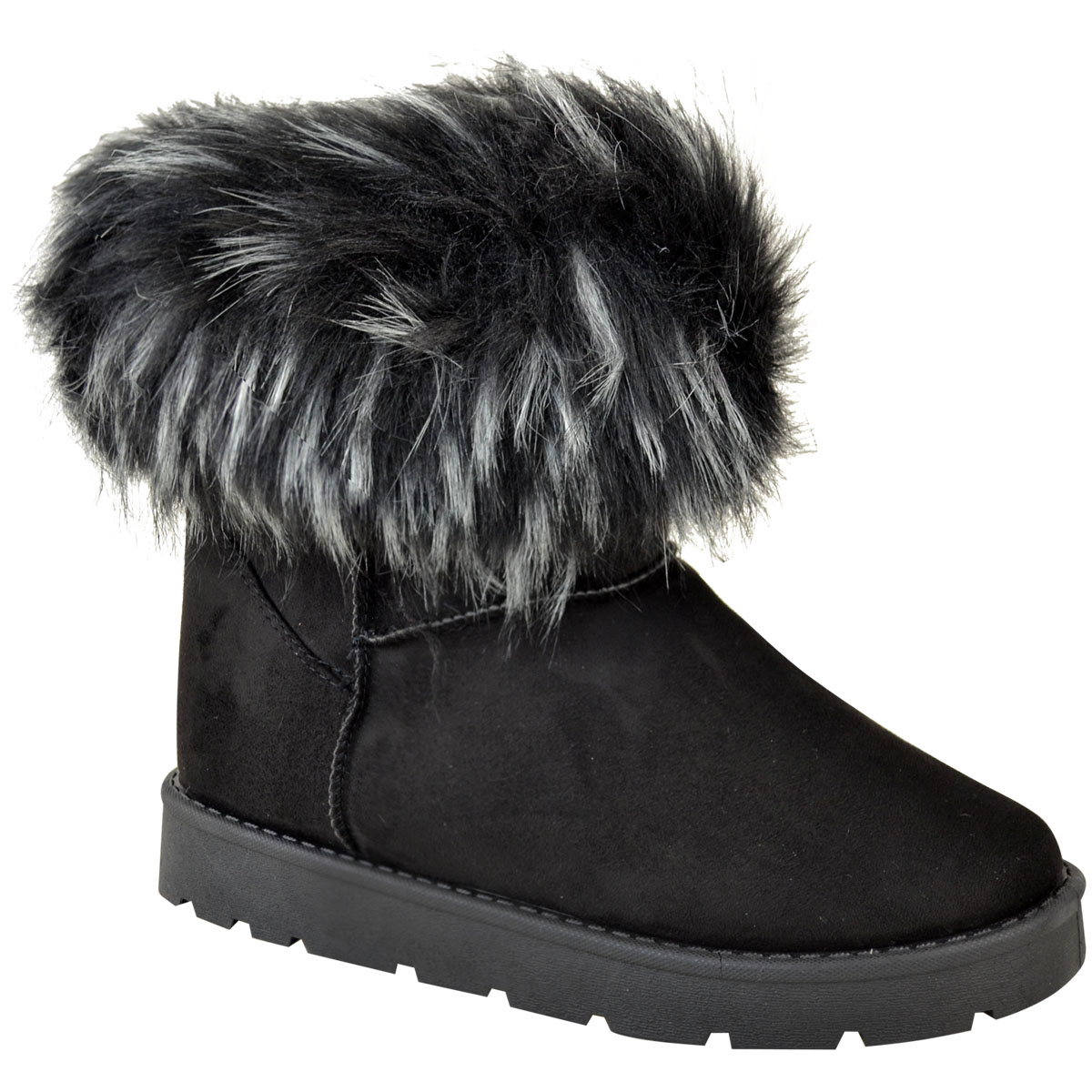 Womens Ladies Flat Low Wedge Faux Fur Winter Anlke Boots Warm Fleece Size New