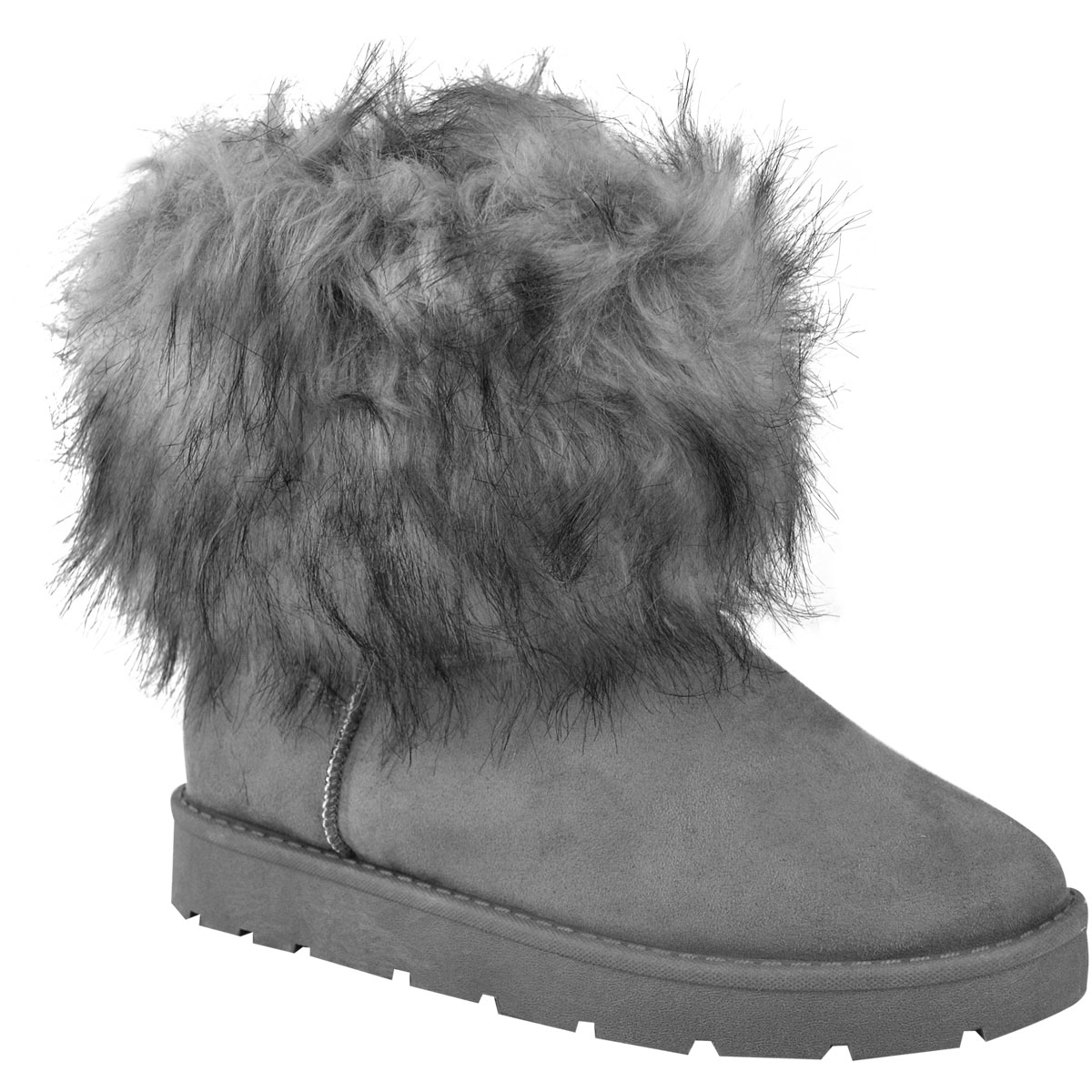 Womens Ladies Flat Faux Fur Fluffy Ankle Boots Winter Warm Comfy Snow Shoes Size