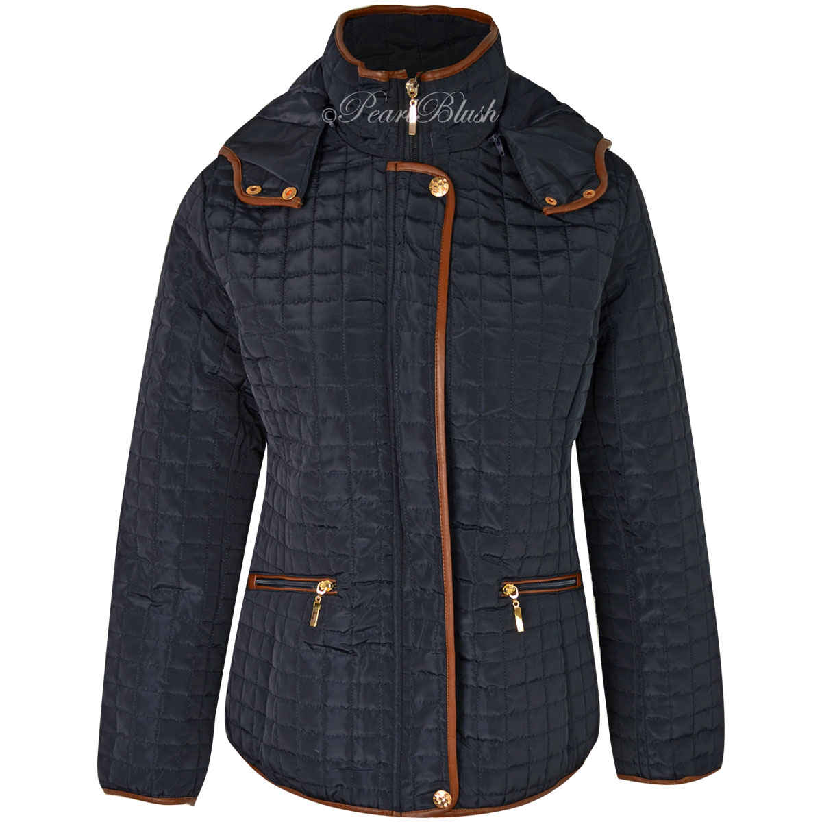 WOMENS LADIES QUILTED WINTER COAT PUFFER FITTED JACKET