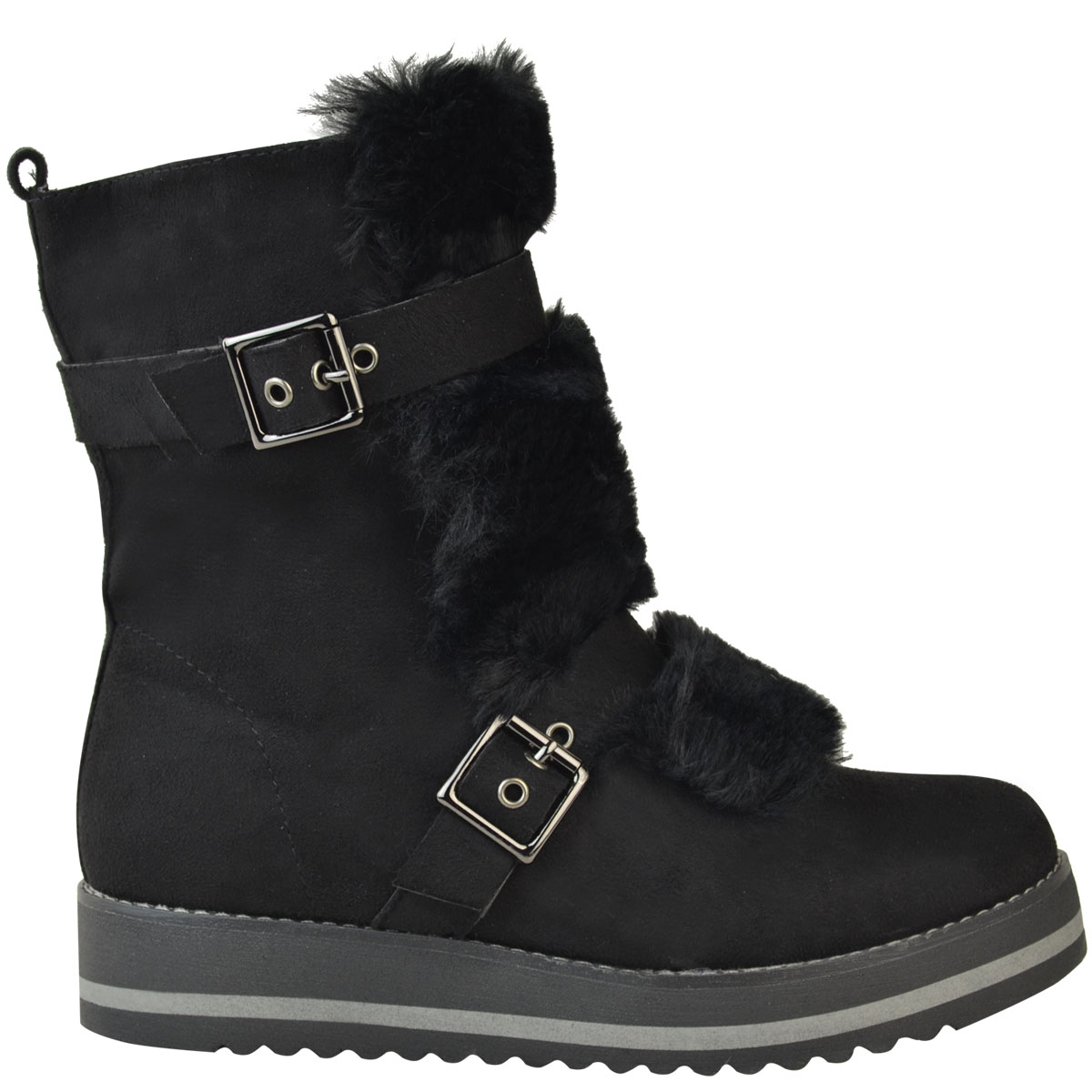 Womens-Ladies-Low-Wedge-Flat-Winter-Snow-Ankle-Boots-Fleece-Lining-Shoes-Size