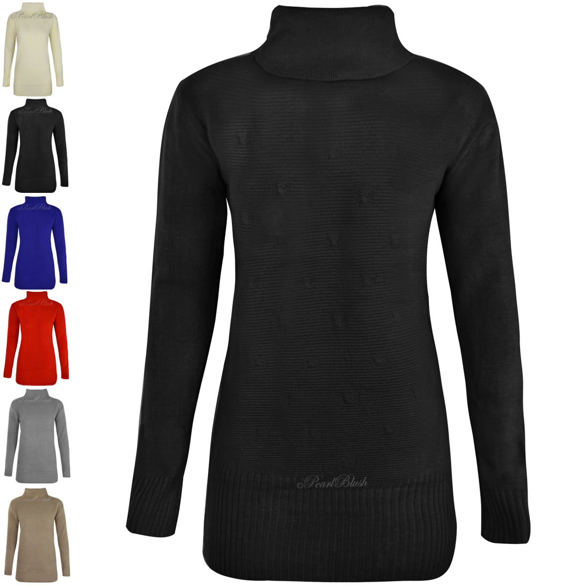 Womens ladies long sleeve polo turtle neck jumper winter for What is polo neck t shirts
