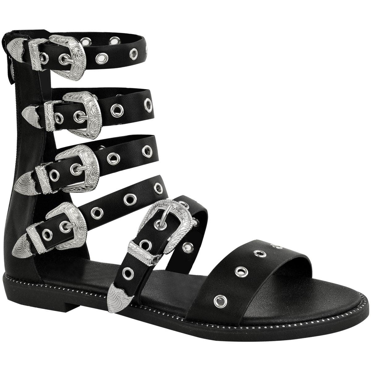 Sandals Buckles Ladies Strappy Womens Goth New Gladiator Flat Biker TF1KcJ3l