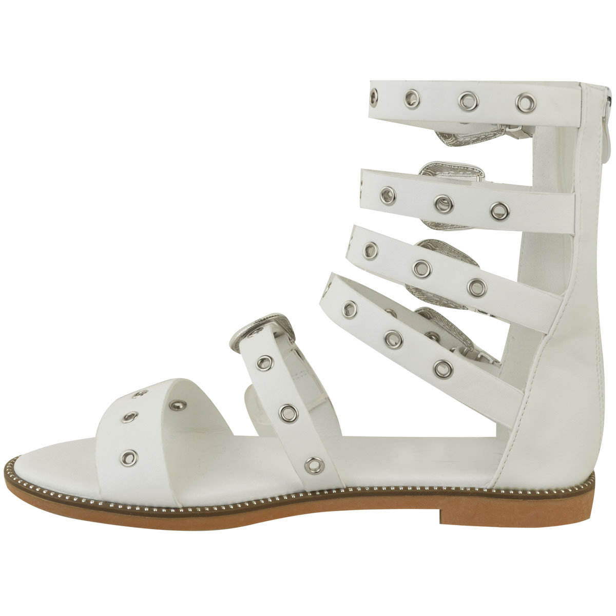 Ladies-Womens-Flat-Sandals-Buckle-Strappy-Cut-Out-Studded-Gladiator-Summer-Shoes