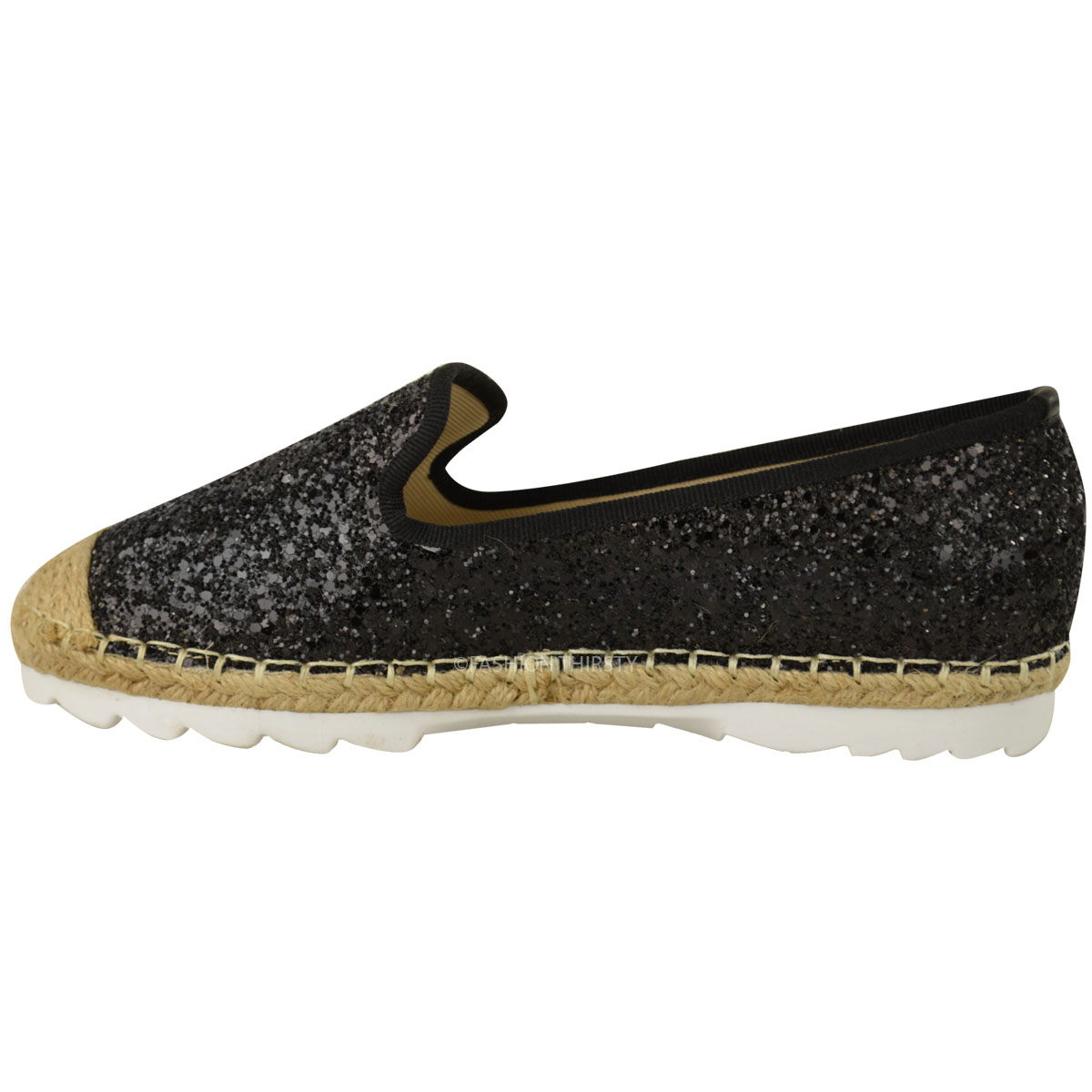 womens ladies flat shoes espadrilles casual holiday comfort glitter shimmer size ebay. Black Bedroom Furniture Sets. Home Design Ideas