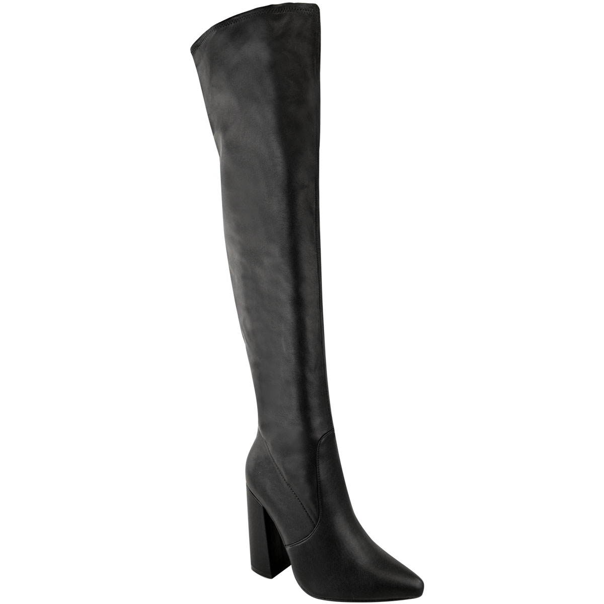 Womens-Ladies-Thigh-High-Boots-Lycra-Over-The-Knee-Pointy-Block-High-Heels-Size Indexbild 13