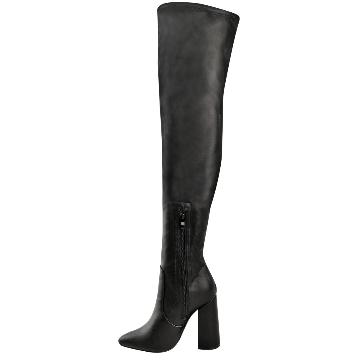 Womens-Ladies-Thigh-High-Boots-Lycra-Over-The-Knee-Pointy-Block-High-Heels-Size Indexbild 15